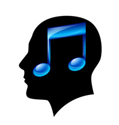 head of man with musical note vector image