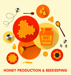 honey production and beekeeping flat icons concept vector image