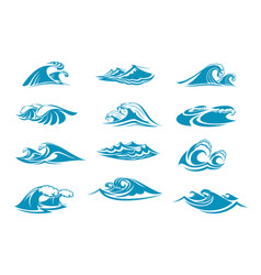 icons of ocen water wave blue splash vector image vector image