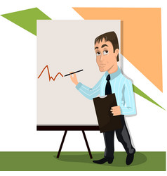 lector or trainer stand near board presentation vector image vector image