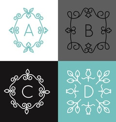 Linear set of floral frame for text or logo vector