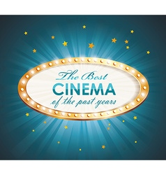 Old cinema banner with light bulbs cinema vector