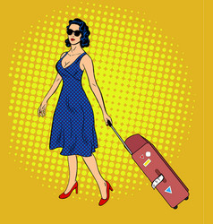 Pop art lady with baggage vector