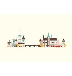 Prague abstract skyline vector image