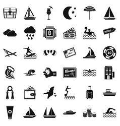 Rain water icons set simple style vector