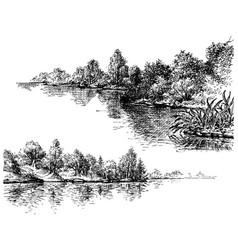 River banks and vegetation set vector