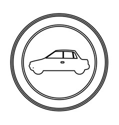 Round emblem side car icon vector