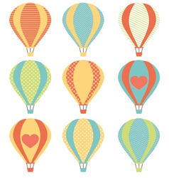 Set if colorful hot air balloons vector