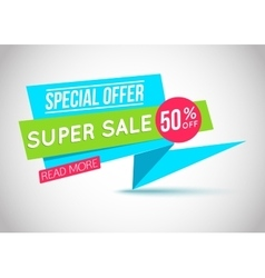 Super sale paper banner super sale and special vector