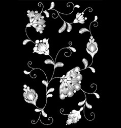 Tribal flower embroidery crewel patchblack white vector