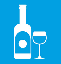 Wine and glass icon white vector