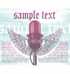 winged microphone vector image vector image