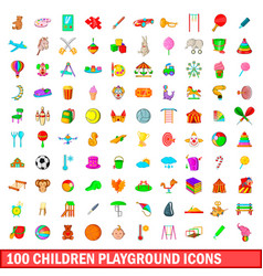 100 children playground icons set cartoon style vector
