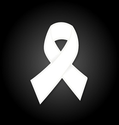 White ribbon on black background vector
