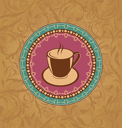 Cute ornate vintage with coffee cup vector