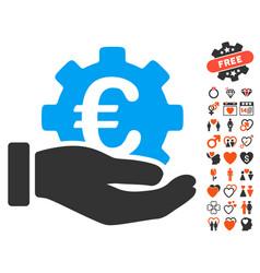 euro development service hand icon with valentine vector image