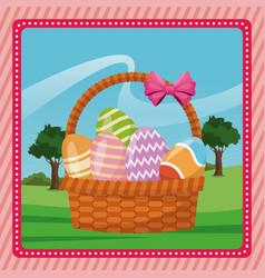 basket egg easter celebration pink background vector image