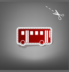 Bus simple sign  red icon with for vector