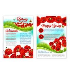 spring holidays poster template with poppy flower vector image