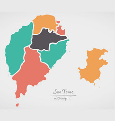 Sao tome and principe map with states vector