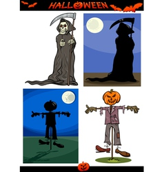 Halloween cartoon creepy themes set vector