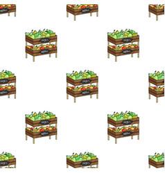 Raw food lying on rack shelves icon in cartoon vector