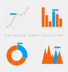 Set of flat design statistics charts and graphs vector