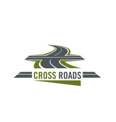Cross road symbol with highway and cross ways vector