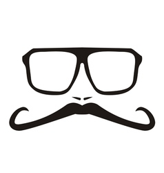 Men face with long mustache and big glasses vector