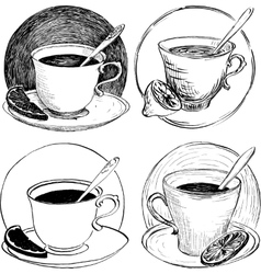 Four sketch of teacups and lemon slice vector