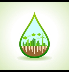 Ecology concept with water droplet - illus vector image