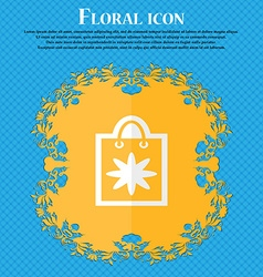 Shopping bag floral flat design on a blue abstract vector