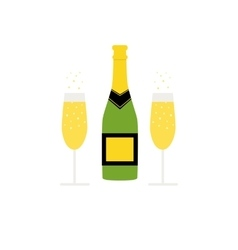 New years bottle of sparkling wine and glasses vector