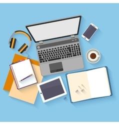 Flat design mockup per office workspace vector