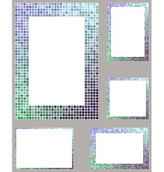 Pixel mosaic page border frame set vector