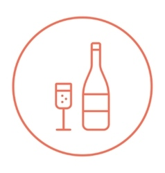 Bottle of champaign and glass line icon vector