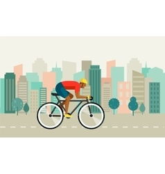 Cyclist riding on bicycle on city poster vector