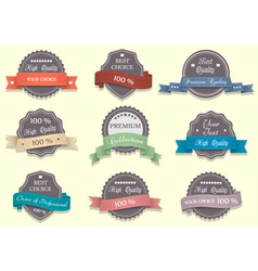Nine premium quality labels vector