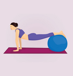 A plank position with a ball vector