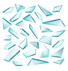 Broken glass shards isolated on white set vector