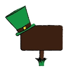 Cartoon wooden sign st patrick day hat vector