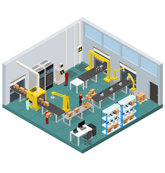 Conveyor line factory interior with isometric view vector