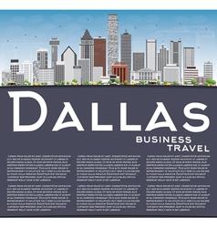 Dallas skyline with gray buildings blue sky vector