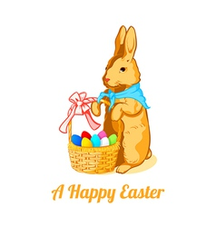 Easter rabbit with eggs vector image