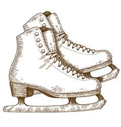 engraving winter skates vector image vector image