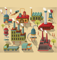 Factory - buildings and workers vector