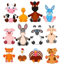 Farm animal cartoon collection vector image