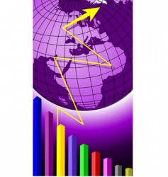globe and graph vector image vector image