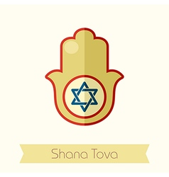 Hamsa hand rosh hashanah icon shana tova vector