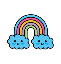 kawaii rainbow cloud cute decoration cartoon vector image